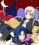 2girls blue_eyes blue_hair bolero c: cheek_squash ciel cushion habit melty_blood multiple_girls nagato123 ponytail riesbyfe_stridberg short_hair silver_hair tsukihime