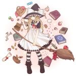 alternate_costume apple aqua_eyes basket blonde_hair book bow braid broom candy coin cookie cup faucet food fruit hair_bow hat hat_bow hat_tip kirisame_marisa long_hair mushroom pantyhose poonosuke scroll single_braid solo striped striped_legwear touhou witch witch_hat