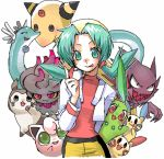 1girl ampharos artist_request blue_eyes blue_hair chikorita creature crystal_(pokemon) dragonair furret haunter holding holding_poke_ball jigglypuff lowres minun misdreavus plusle poke_ball pokemon pokemon_(creature) pokemon_(game) pokemon_gsc simple_background smile source_request twintails