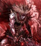 feathers hades highres horns lord_of_vermilion lord_of_vermillion mythology raypass skull spines sword teeth veins weapon