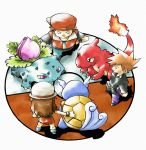 1girl 2boys blue_(pokemon) bream-tan brown_hair charmeleon flame hand_on_hip hat ivysaur leaf_(pokemon) long_hair multiple_boys ookido_green ookido_green_(frlg) poke_ball pokemon pokemon_(creature) pokemon_(game) pokemon_firered_and_leafgreen pokemon_frlg pokemon_rgby red_(pokemon) simple_background sugimori_ken_(style) wartortle