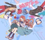 2boys apple bird blazer blue_hair brown_hair fish food fruit mawaru_penguindrum multiple_boys necktie penguin penguin_1-gou penguin_2-gou penguin_3-gou pikaro red_hair redhead school_uniform skirt star takakura_himari takakura_kanba takakura_shouma