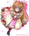 2012 black_legwear blue_eyes blush brown_hair candy chocolate coat cookie doughnut dutch_angle embarrassed food from_above fur_coat fur_collar fur_trim gift giftbag hair_ribbon heart highres houjou_hibiki incoming_gift long_hair looking_at_viewer macaron mahkn pastry precure ribbon shadow solo standing suite_precure sweets thigh-highs thighhighs two_side_up valentine white_background winter winter_clothes