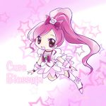 character_name cure_blossom hanasaki_tsubomi heartcatch_precure! highres long_hair looking_at_viewer magical_girl open_mouth pink_eyes pink_hair ponytail precure ribbon smile solo wrist_cuffs yume_shokunin