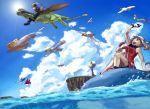 background bandana bandanna brown_hair chimecho cloud clouds flygon flying gloves haruka_(pokemon) haruka_(pokemon)_(remake) haruka_(pokemon_emerald) latias latios minun ocean pelipper plusle pokemon pokemon_(game) pokemon_rse sky sky-sky surfing wailmer wingull yuuki_(pokemon) yuuki_(pokemon)_(remake) yuuki_(pokemon_emerald)