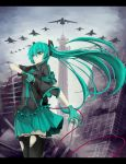 airplane aqua_eyes aqua_hair f-15 f-16 f-4_phantom_ii fighter_jet gloves hatsune_miku jet kawasaki_t-4 koi_wa_sensou_(vocaloid) letterboxed long_hair megaphone solo thigh-highs thighhighs torn_thighhighs tower tsuizi very_long_hair vocaloid