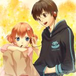 brown_hair earphones food gintama glasses headphones hoodie kagura_(gintama) red_hair redhead shared_earphones shimura_shinpachi takahashi_ryuunosuke