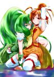 choker cure_march cure_sunny gloves green_eyes green_hair hand_on_another's_waist hino_akane long_hair magical_girl midorikawa_nao multiple_girls ooshima_tomo orange_hair oshima_tomo ponytail precure red_eyes short_hair smile_precure! thigh-highs thighhighs tiara white_legwear yuri