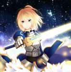 absurdres armor blonde_hair dress excalibur fate/zero fate_(series) galaxy green_eyes highres kisaichi_jin saber short_hair solo sword weapon