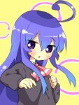 acchi_kocchi ahoge blue_hair long_hair miniwa_tsumiki njigen_hairitai purple_eyes school_uniform solo violet_eyes