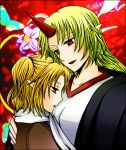blonde_hair flower green_eyes horn hoshiguma_yuugi jacket_on_shoulders mizuhashi_parsee multiple_girls open_mouth paco_(eien_mikan) pointy_ears ponytail red_background red_eyes scarf short_hair touhou yuri