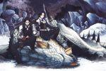 1girl barioth bnahabra_(armor) gun gunlance highres monster_hunter monster_hunter_3 snow tusks weapon