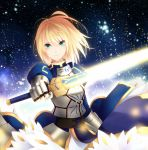 armor blonde_hair dress excalibur fate/zero fate_(series) galaxy green_eyes highres kisaichi_jin saber short_hair solo sword weapon