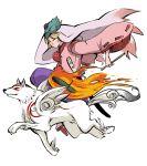 animal blonde_hair geta hakama helmet japanese_clothes okami ookami_(game) ryohakkai sandals sheath sheathed simple_background ushiwakamaru weapon white_background wolf