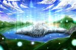 blastbeat cloud clouds commentary_request corpse death grey_skin lake light_particles male mountain muscle nature solo toguro_otouto yuu_yuu_hakusho