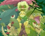 1boy breloom coat crossover green jojo_no_kimyou_na_bouken ludicolo oddish pesci pokemon pokemon_(creature) servine tsukumoya_hajime venusaur whimsicott