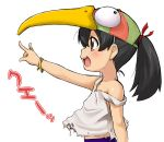 1girl \m/ animal_hat beak bird_hat black_hair blush bracelet brown_eyes bust child copyright_request hat jewelry off_shoulder open_mouth outstretched_arm ponytail profile ring sagamimok side_profile simple_background smile solo strap_slip string tattered_clothes torn_clothes translation_request white_background