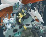 1boy black_hair bronzor crossover illuso jojo_no_kimyou_na_bouken klinklang lairon lucario magneton pokemon pokemon_(creature) skarmory tsukumoya_hajime