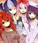 blue_hair flaky giggles happy_tree_friends hat jewelry lammy long_hair multicolored_hair necklace personification petunia pink_eyes pink_hair purple_eyes purple_hair red_eyes red_hair redhead ribbon smile sweater tororo_imo_(asdf6789) violet_eyes wink