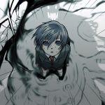 arisato_minato blue_eyes blue_hair empty_eyes from_above male monster necktie persona persona_3 rain shadow short_hair t0kiwa thanatos young