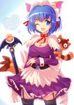 :3 ;d animal_ears bad_id blue_eyes blue_hair bow breasts cat_ears cleavage collarbone dress heart kokubunji_koyori looking_at_viewer maid_headdress nurse_witch_komugi-chan open_mouth ribbon short_hair simple_background smile solo staff tanuki thigh-highs thighhighs wink yodori