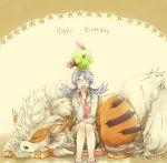 1girl arcanine birthday blue_hair crystal_(pokemon) hat lamp-ao natu on_head pokemon pokemon_(creature) pokemon_special sitting sleeping twintails yellow_background