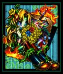blood blue_rose character_request colorful crayon doll dress fire flower green_dress hair_flower hair_ornament highres ib long_hair mary_(ib) multicolored_eyes ninomae painting_(object) palette_knife red_rose rose sitting solo thorn thorns vines yellow_rose