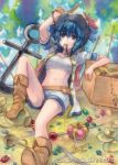 ahoge anchor arm_up arrow blue_eyes blue_hair boots box crown cup gem geroro hat jewelry mouth_hold murasa_minamitsu navel open_clothes sarashi saucer short_hair shorts sitting smile solo spade sword teacup tiara touhou weapon