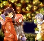 1girl 2boys alternate_costume black_hair blue_hair christmas coat crystal_(pokemon) cyndaquil dated gloves gold_(pokemon) lamp-ao merry_christmas multiple_boys natu plant pokemon pokemon_(creature) pokemon_special red_eyes red_hair redhead scarf silver_(pokemon) sneasel tree