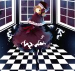 blue_eyes bow capelet checkered checkered_floor dress elbow_gloves eva_beatrice flower frills gloves hat head_tilt highres looking_back m0chigo3 orange_hair pantyhose ribbon rose sky solo star_(sky) starry_sky umineko_no_naku_koro_ni window
