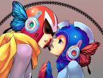 bad_id blue_eyes blues_(rockman) butterfly_wings couple eye_contact headset helmet looking_at_another magnet_(vocaloid) male microphone multiple_boys open_mouth proto_man rockman rockman_(character) rockman_(classic) scarf vocaloid wings yaoi zakki