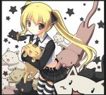 :3 belt blonde_hair blush blush_stickers brown_eyes cat closed_eyes dream_c_club eyes_closed fangs hair_ribbon holding iwa_(alpaca_oukoku) mian_(dream_c_club) miniskirt necktie open_mouth ribbon skirt solid_circle_eyes star striped striped_legwear thigh-highs thighhighs too_many_cats twintails
