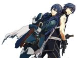 1girl armor blue_eyes blue_hair chrom_(fire_emblem) father_and_daughter fingerless_gloves fire_emblem fire_emblem:_kakusei gloves krom lucina machch spoilers sword tattoo weapon