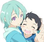 age_difference ao_fukai black_hair eureka eureka_seven eureka_seven_(series) eureka_seven_ao fukai_ao hug mother_and_son purple_eyes umanosuke violet_eyes
