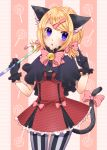 1girl animal_ears blonde_hair blush cat_ears cat_tail gloves hair_ornament hair_ribbon hairclip highres kagamine_rin open_mouth pantyhose ribbon short_hair skirt solo tail twintails vertical-striped_legwear vertical_stripes violet_eyes vocaloid yayoi_(egoistic_realism)