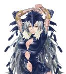 arms_up beads bird_hat breasts feathers fishnets lip lips long_hair mayumio88 navel reki-dama silver_hair solo very_long_hair white_background yellow_eyes