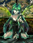 aqua_eyes aqua_hair breasts cleavage fangs fingernails fireflies insect_wings japanese_clothes long_hair my_little_pony my_little_pony_friendship_is_magic nail personification queen_chrysalis solo soukitsubasa wings