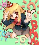 blazer bowtie neesan onsoku_maru pleated_skirt pointing salute school_uniform shoes skirt socks tongue uwabaki