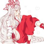 albino bad_id bow fujiwara_no_mokou hair_bow hand_on_own_face heart hisaaoki long_hair pants profile red_eyes sitting solo touhou very_long_hair white_background white_hair