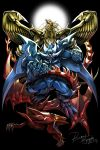 artist_name bawang-ryuuzaki blue_skin dragon duel_monster fangs monster no_humans obelisk_the_tormentor open_mouth red_skin slifer_the_sky_dragon teeth the_winged_dragon_of_ra wings yellow_skin yuu-gi-ou yuu-gi-ou_duel_monsters