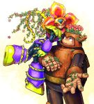 blue_eyes closed_eyes couple eyes_closed flower height_difference plant_man plantman rockman rockman_(classic) smile thorns vines wood wood_man woodman zakki