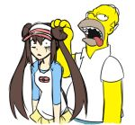 1girl bald brown_hair colored colorfag crossover double_bun drawfag drooling female_protagonist_(pokemon_bw2) homer_simpson long_hair mei_(pokemon) parody poke_ball_print pokemon pokemon_(game) pokemon_bw2 raglan_sleeves shocked_eyes skirt the_simpsons twintails visor_cap yellow_skin