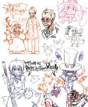 >:) 1boy 1girl aiming_at_viewer avery_(skullgirls) avian_(skullgirls) black_eyes bleeding blonde_hair blood bowtie bruise child cigar dr_avian_(skullgirls) dress dual_persona english evil_smile fangs frown george_(skullgirls) george_the_bomb gloves grin gun hands_on_hips hat hat_removed injury labcoat lollipop mechanical_arms monochrome nosebleed oversized_clothes peacock_(skullgirls) pistol pointy_ears red_eyes revolver ribbon rt-sy sharp_teeth short_hair sketch skullgirls sleeves_past_wrists smile smoking spot_color standing tears tongue top_hat torn_clothes translation_request weapon