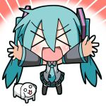 :d aqua_hair blush chibi chibi_miku closed_eyes detached_sleeves dog hair_ribbon hamo_(dog) hatsune_miku headphones minami_(artist) necktie open_mouth outstretched_arms ribbon shirt skirt smile twintails vocaloid
