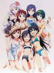 7girls ;d ;o absurdres amami_haruka armpits arms_up artist_request auburn_hair barefoot bikini black_hair blue_eyes blush breasts brown_hair cleavage collarbone dress earrings fang feet flower flower_on_head ganaha_hibiki green_hair hagiwara_yukiho hair_flower hair_ornament hat headband hibiscus highres hoop_earrings idolmaster jewelry kikuchi_makoto kisaragi_chihaya long_hair mole multiple_girls navel nishigori_atsushi official_art open_mouth otonashi_kotori ponytail purple_eyes purple_hair shijou_takane short_hair smile soles sports_bikini straw_hat swimsuit violet_eyes wink