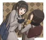 ^_^ akitotika amagami bag black_hair blue_eyes bob_cut closed_eyes coat eyes_closed gloves grin hairband long_hair morishima_haruka multiple_girls open_mouth scarf school_bag short_hair shoulder_bag smile stuffed_animal stuffed_toy tachibana_miya teddy_bear