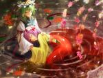 arm_ribbon closed_eyes eyes_closed flower green_hair hair_flower hair_ornament hat hat_ribbon hieda_no_akyuu lap_pillow long_sleeves multiple_girls petals purple_hair ribbon rorerurirarirurero sash shikieiki_yamaxanadu shirt short_hair side_slit sitting skirt smile spider_lily touhou urabe_michiru water wide_sleeves