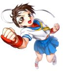 brown_eyes brown_hair capcom fingerless_gloves foreshortening gloves headband kasugano_sakura midriff neckerchief onsoku_maru open_mouth punching school_uniform serafuku shoes short_hair simple_background skirt sneakers socks solo street_fighter street_fighter_iv street_fighter_zero white_background