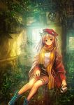 bare_legs belt beret blonde_hair blue_eyes cellphone cup dress_shirt hat highres indoors lm7_(op-center) long_hair looking_at_viewer mug nature original pants phone scarf scenery shirt smile solo