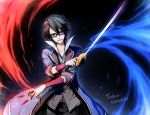 1boy black_hair blue_eyes character_name fushimi_saruhiko glasses highres k_(anime) linjie rapier solo sword weapon